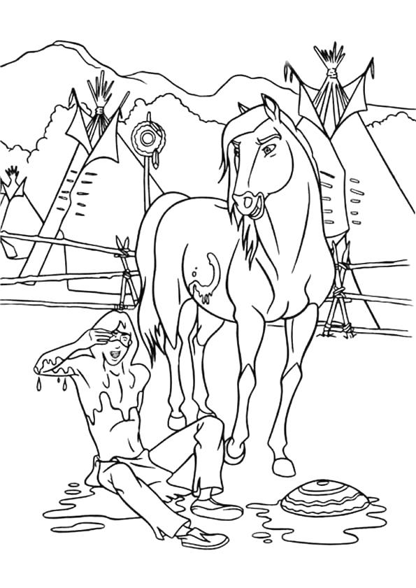 Gratis kleurplaat paard bij indiaan