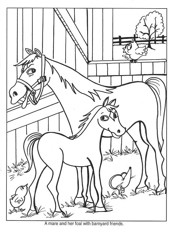 Gratis kleurplaat paard en veulen 6