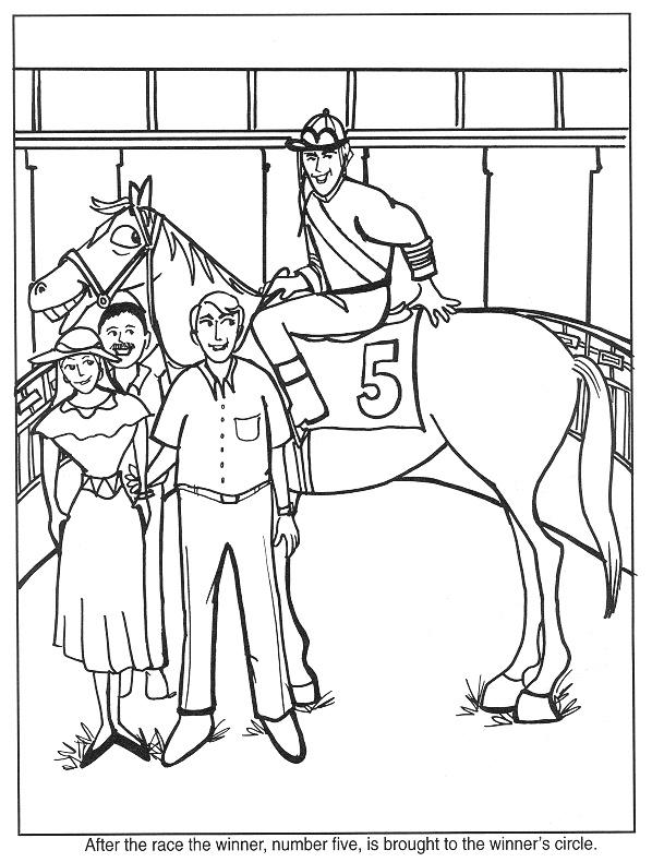 Gratis kleurplaat paard heeft de race gewonnen