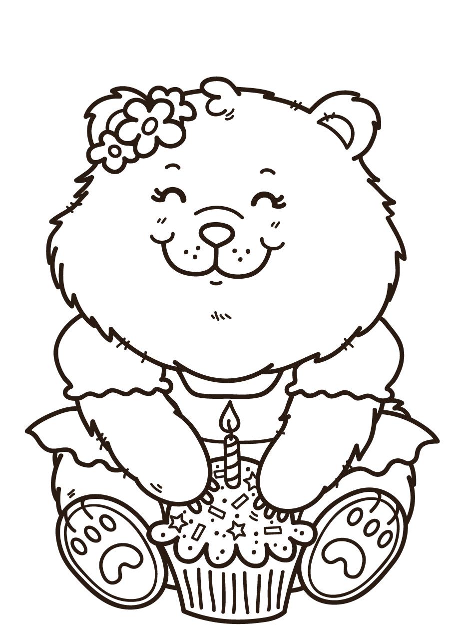 Gratis kleurplaat verjaardag beer met cupcake