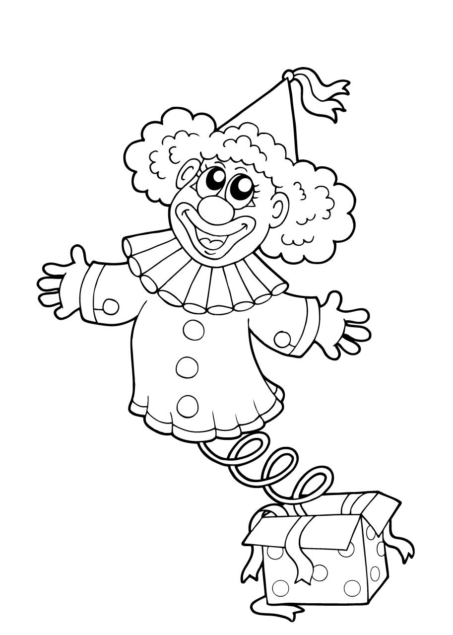 Gratis kleurplaat clown springt uit kado