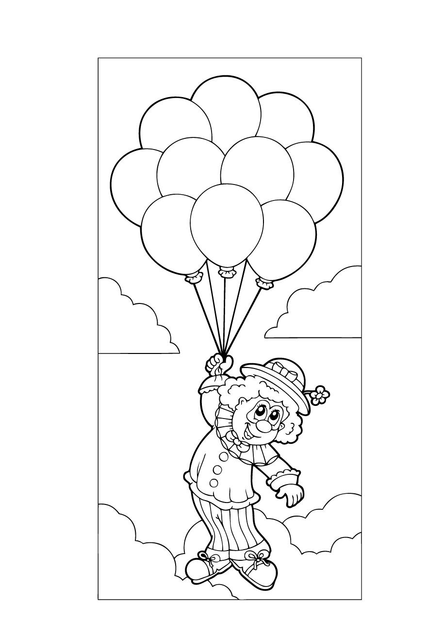 Kleuren Nu Clown Met Ballonnen In De Lucht Kleurplaten