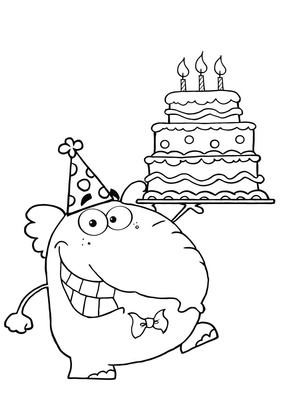 mooie kleurplaat taart verjaardag krijg duizenden