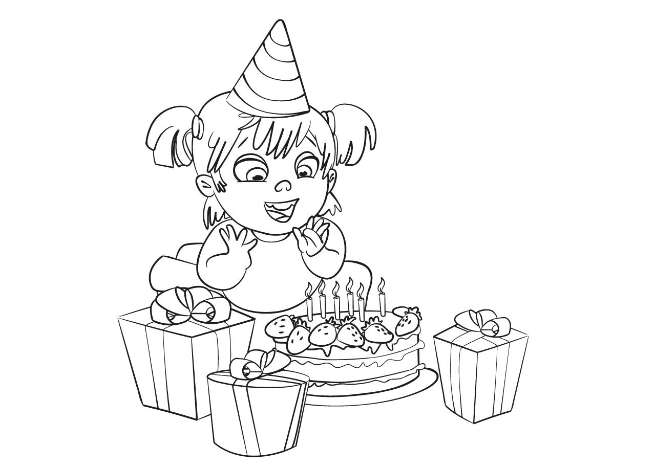 Gratis kleurplaat Jarige met een taart