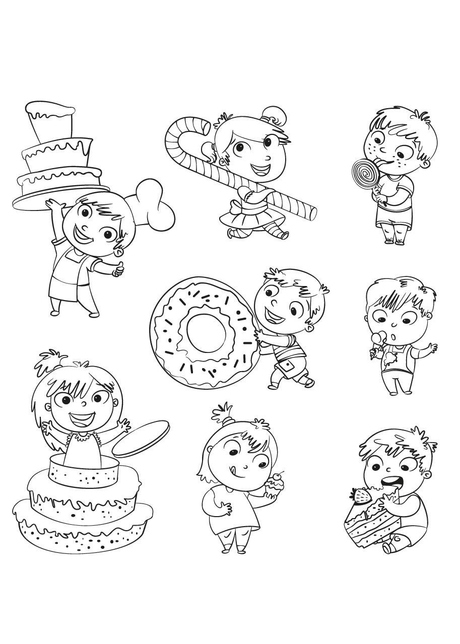 Kleurplaat Opa Verjaardag Kleuren Nu Kinderen Met Snoep En Taart Kleurplaten