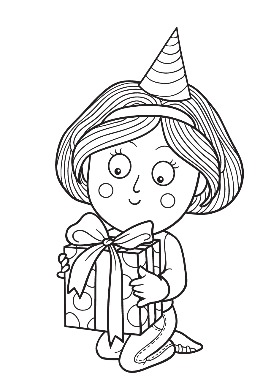 Gratis kleurplaat kind met een kado