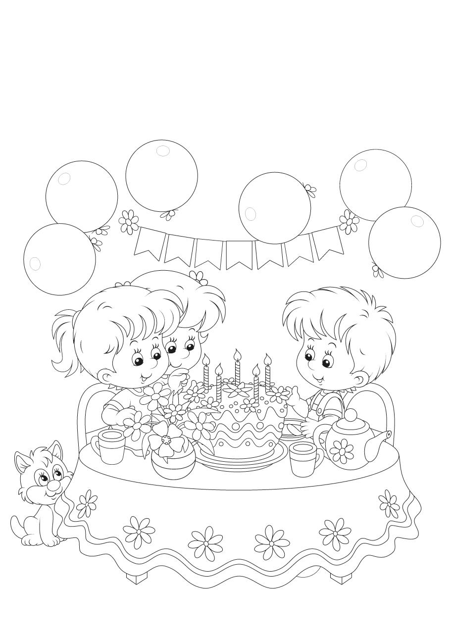 Gratis kleurplaat kinderen op een verjaardagsfeestje