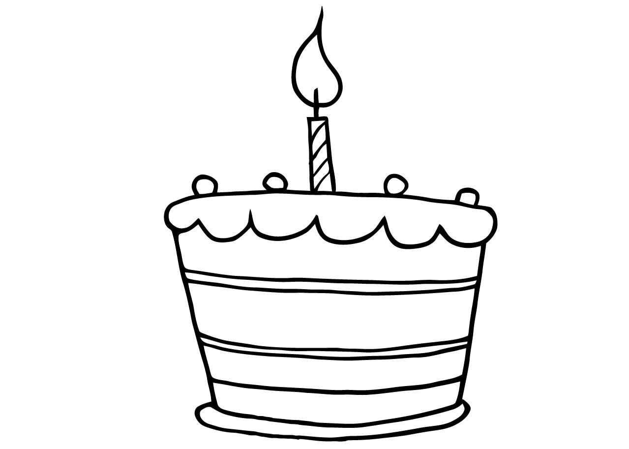 Gratis kleurplaat verjaardagstaart 1 jaar