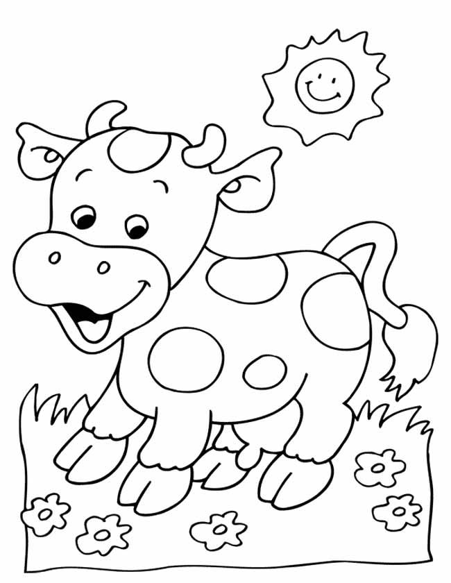 Gratis kleurplaat Vrolijke koe in de wei