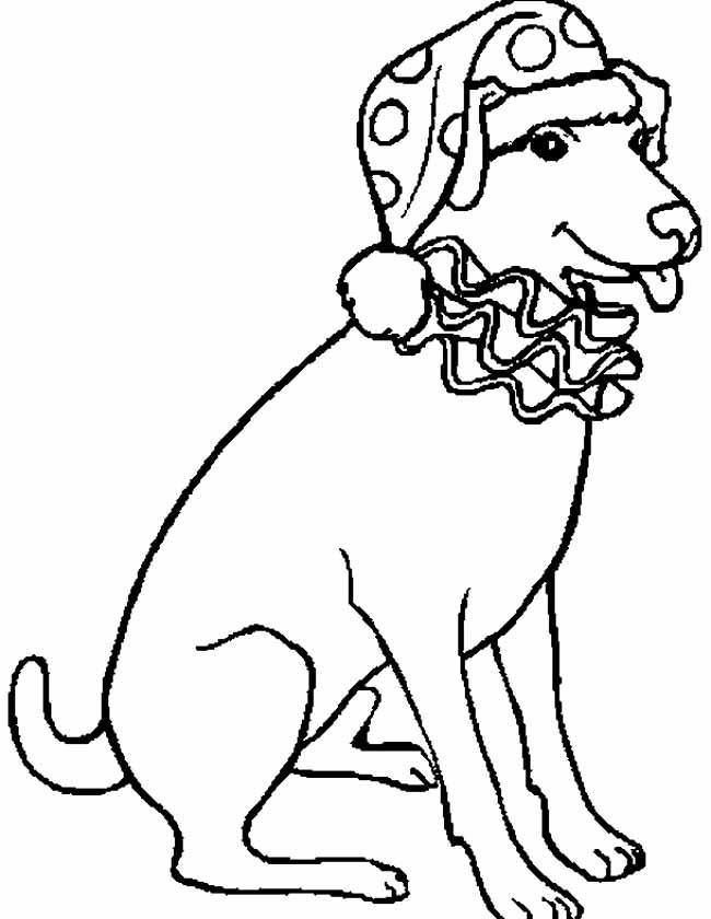 Gratis kleurplaat Hond zit netjes klaar