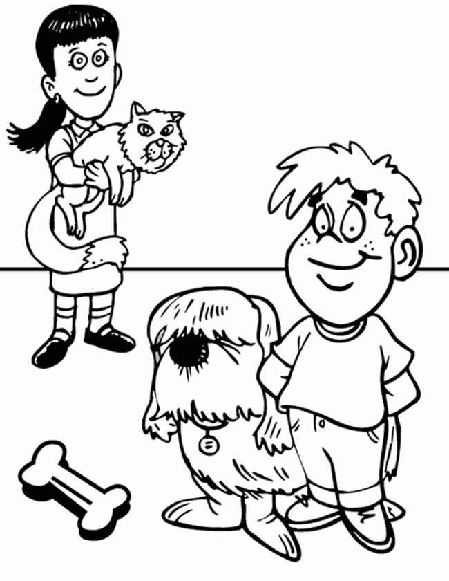 Gratis kleurplaat Groepje kinderen met pas en hond