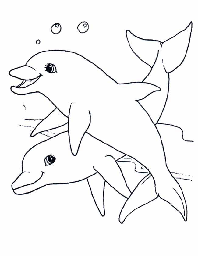 Kleurplaten Dieren Onder Water.Kleuren Nu Twee Lieve Dolfijnen Kleurplaten