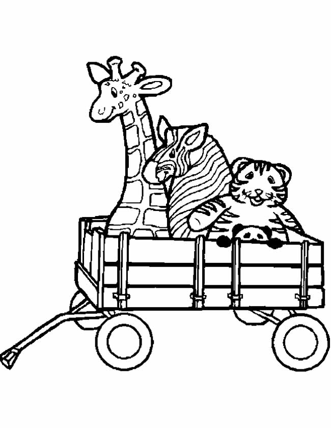 Gratis kleurplaat Giraffe en zebra in een bolderkar