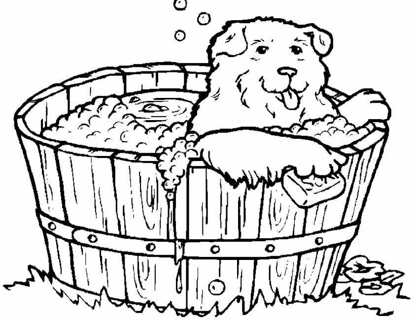 Gratis kleurplaat Hond in een tobbe