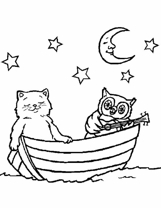 Gratis kleurplaat Uil met poes op een boot