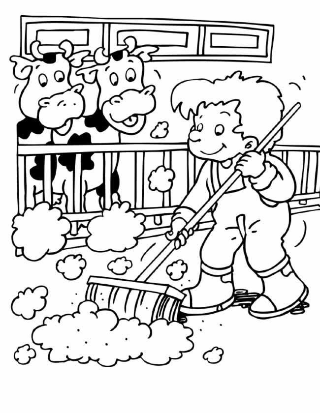 Gratis kleurplaat Koeien in de stal