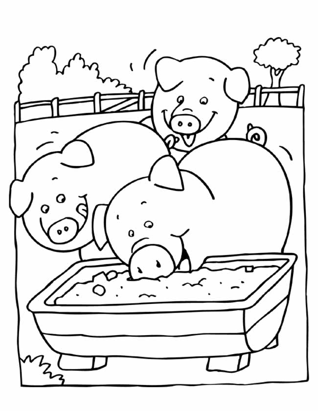 Gratis kleurplaat vrolijke varkens