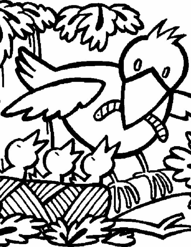 Gratis kleurplaat vogelnestje