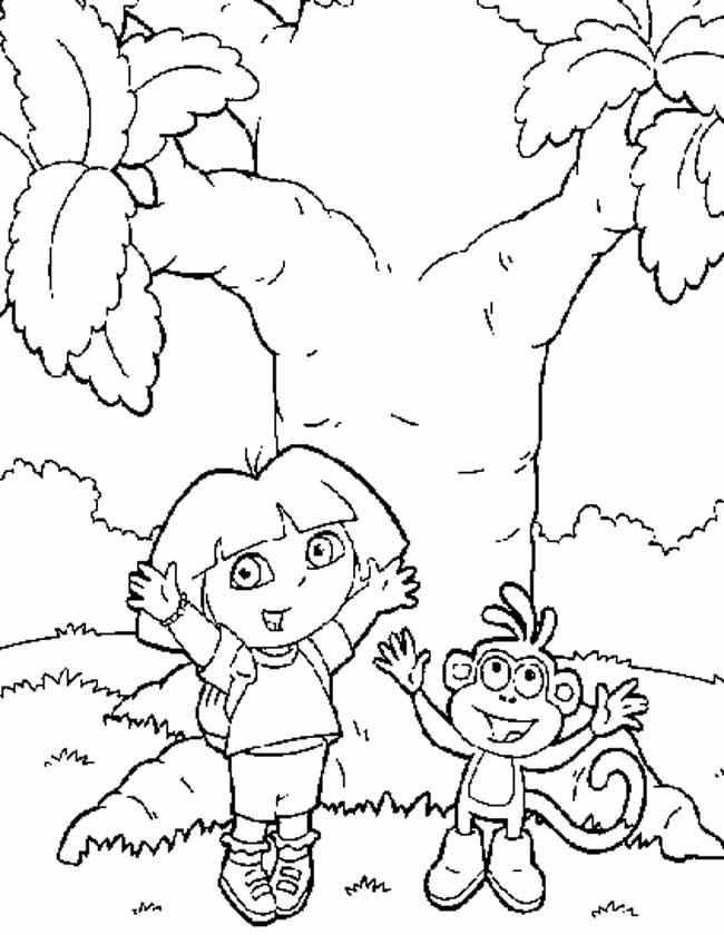 Gratis kleurplaat Dora en boots zwaaien