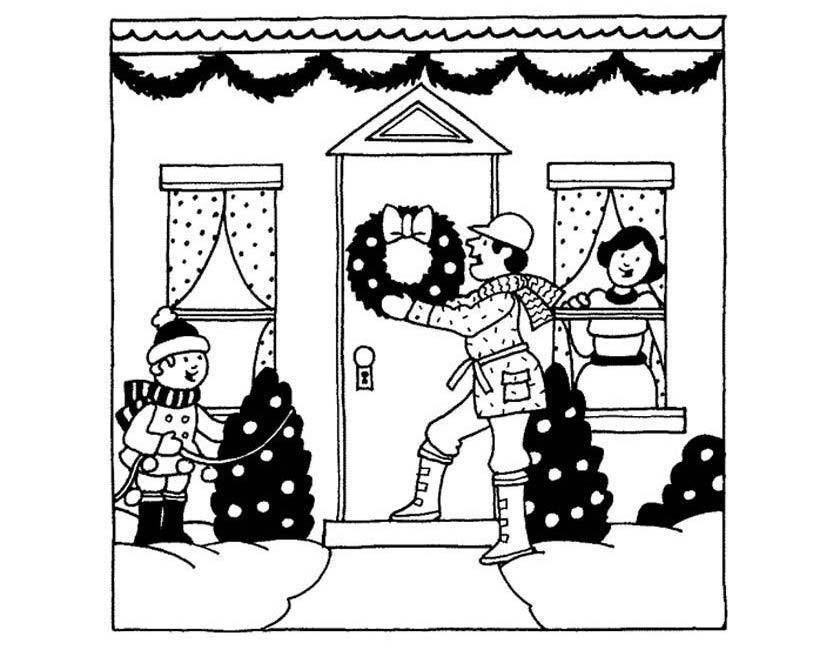 Gratis kleurplaat Kerstmis voor de deur