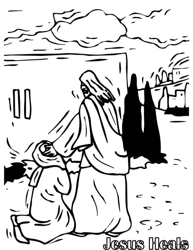 Gratis kleurplaat Jezus geneest