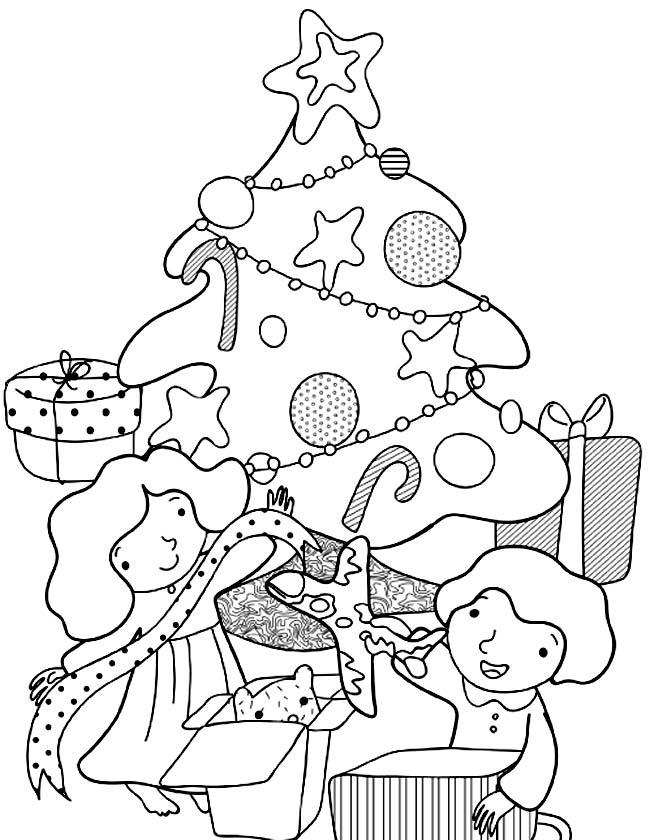 Gratis kleurplaat Cadeautjes uitpakken