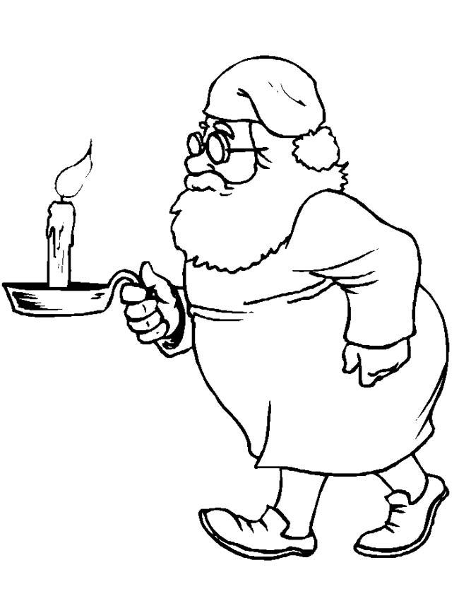 Gratis kleurplaat Kerstman loopt met kaars