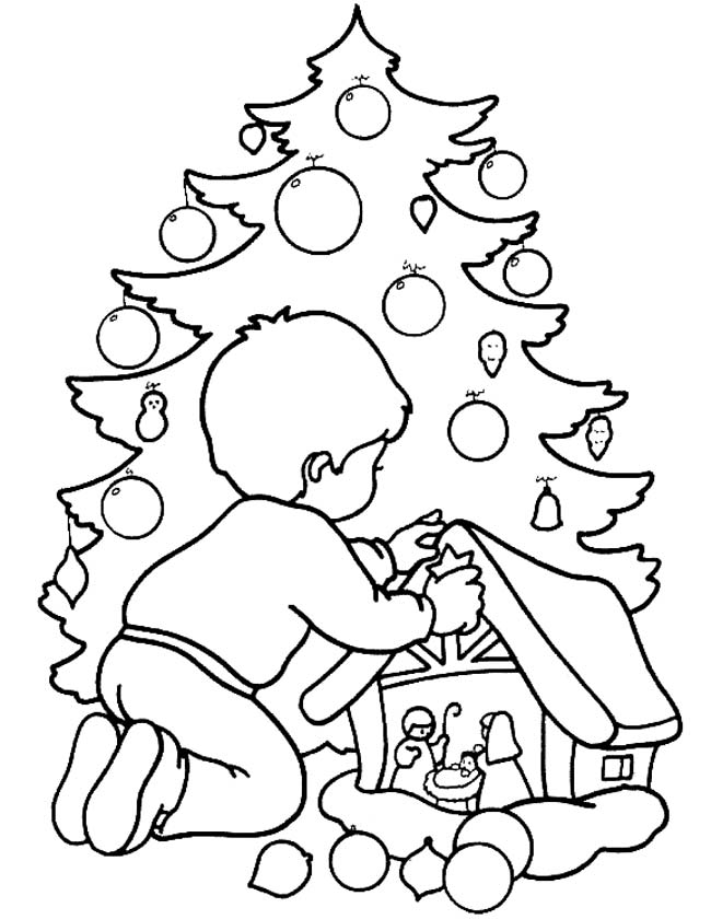 Kleurplaten Van Kerststallen.Kleuren Nu Kerststal Met Kerstboom Kleurplaten