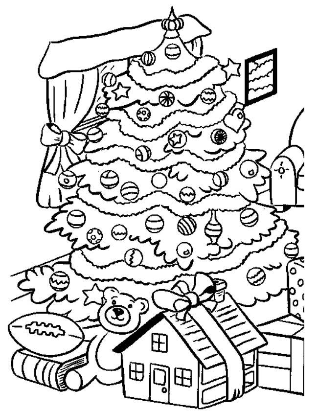 Kleuren.nu - Kerstboom in de woonkamer kleurplaten