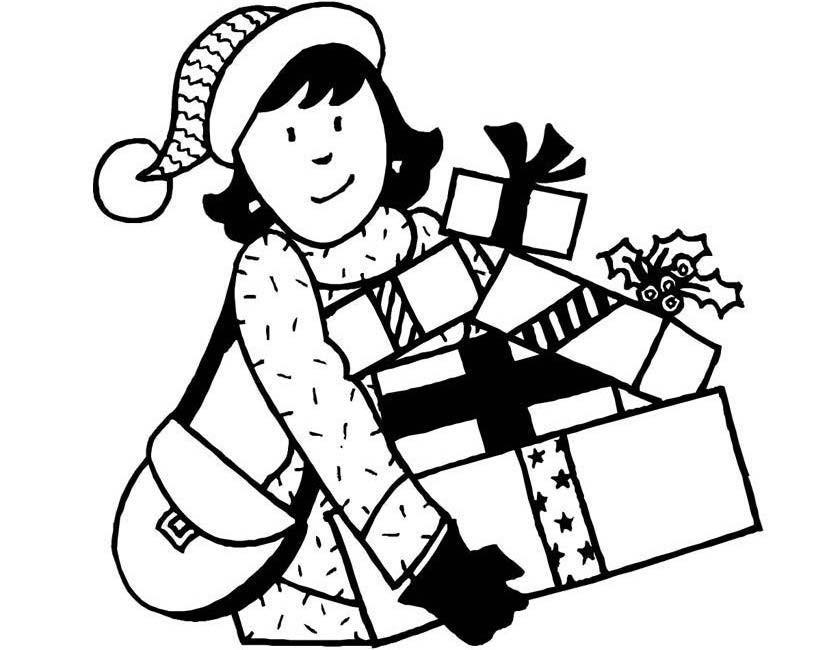 Gratis kleurplaat Meisje met cadeaus