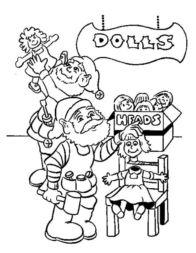 Gratis kleurplaat Kerstman met poppen