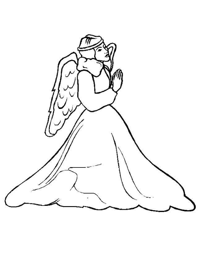 Gratis kleurplaat Biddende engel