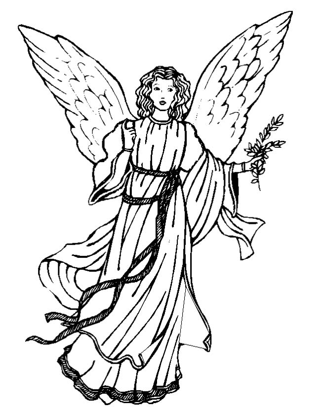Gratis kleurplaat Engel met mooie jurk