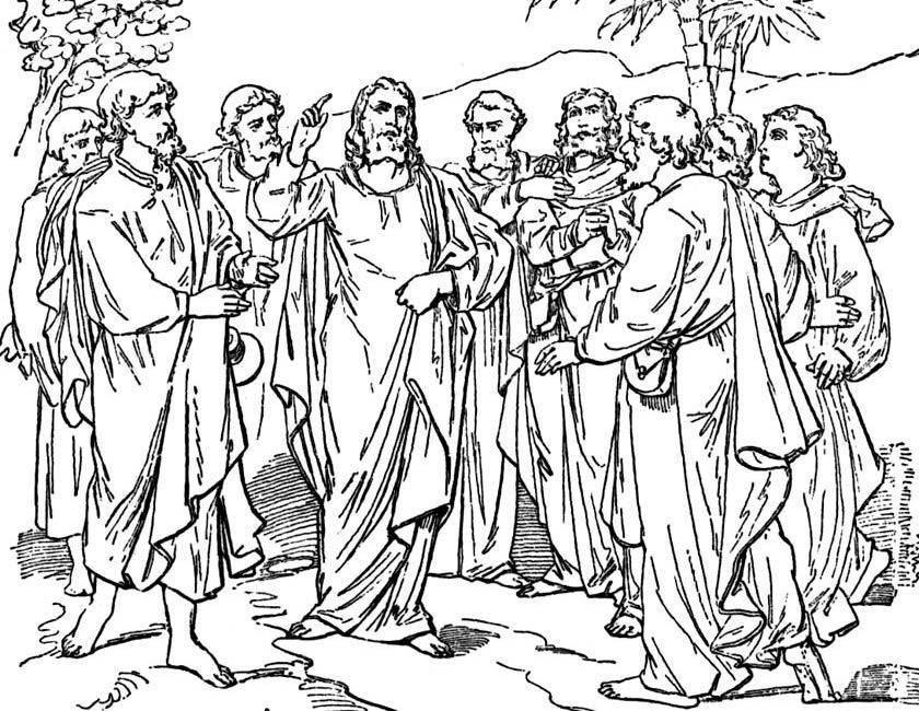 Gratis kleurplaat Jezus met zijn discipelen