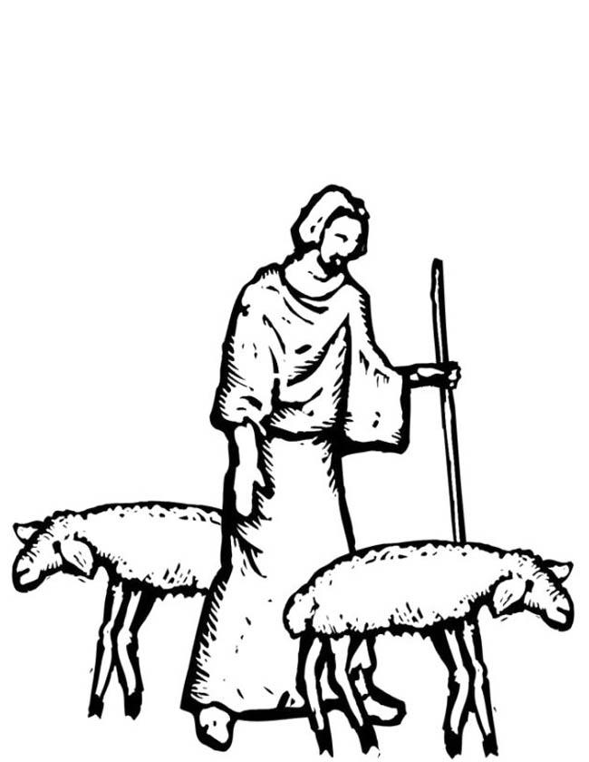 Gratis kleurplaat Herder met schapen