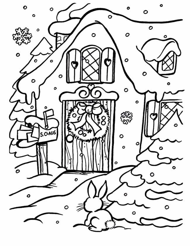 Kleurplaten Wintersport.Kleuren Nu Een Huis In De Sneeuw Kleurplaten