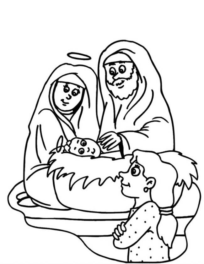 Gratis kleurplaat Jezus met Maria en Jozef