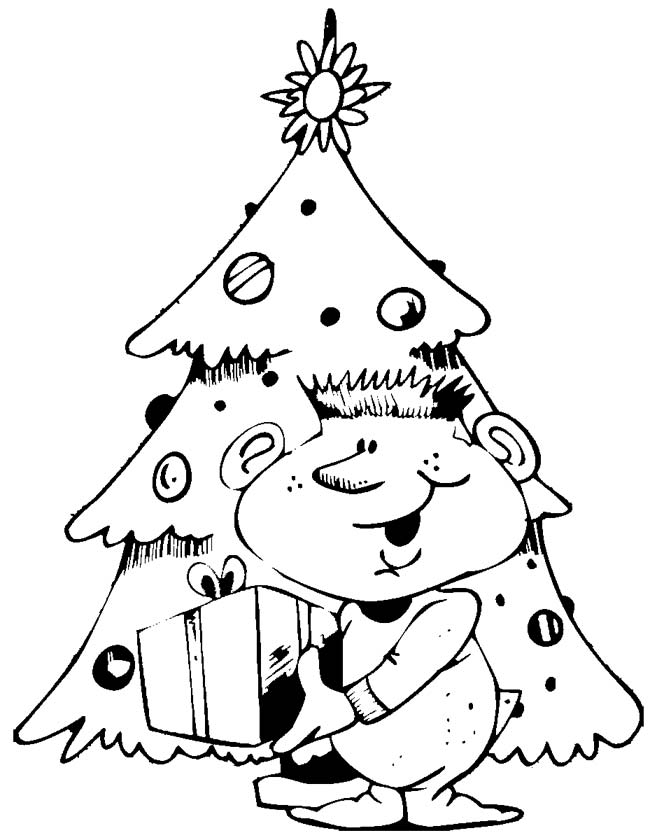 Gratis kleurplaat Kerstboom met cadeau