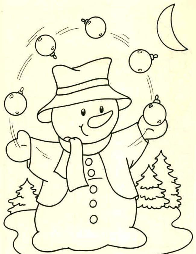 Gratis kleurplaat Jonglerende sneeuwpop