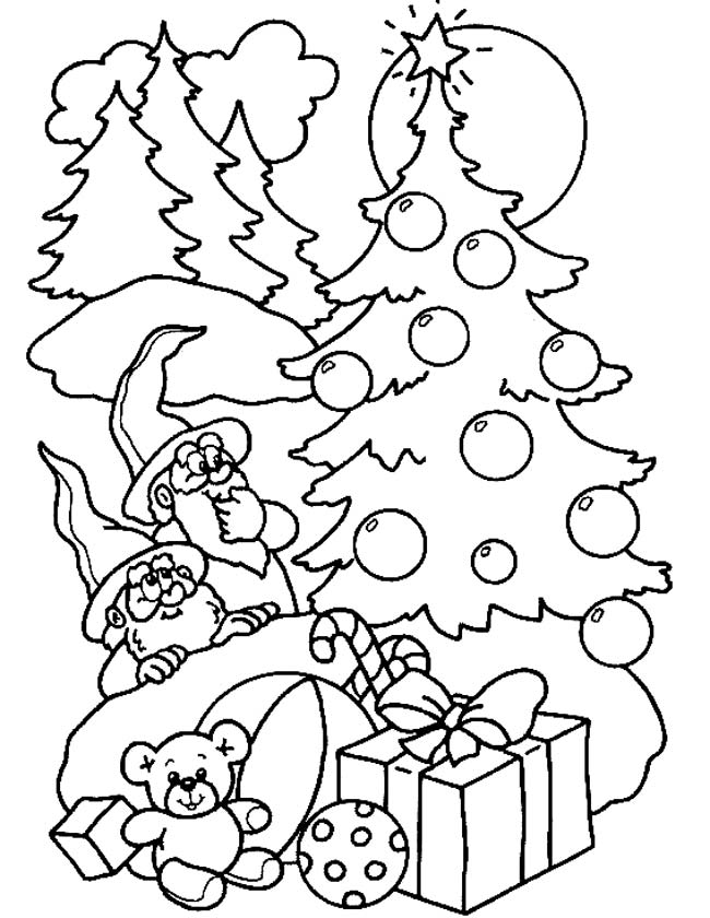 Gratis kleurplaat Kerstboom met kabouters