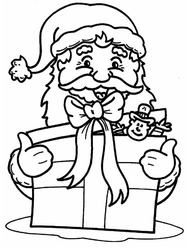 Gratis kleurplaat Kerstman met kado