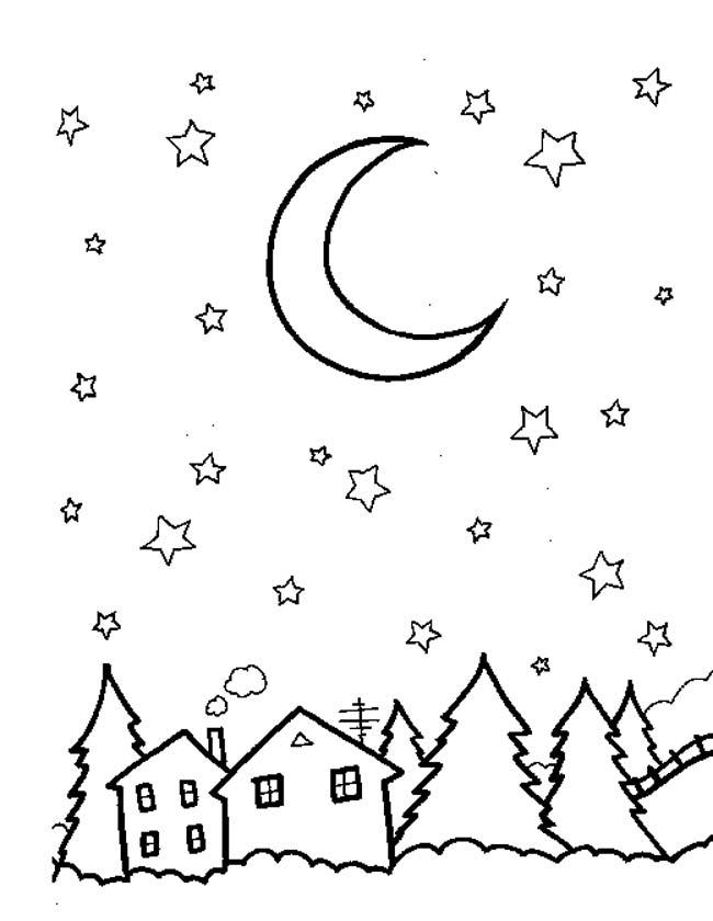 Kleurplaten Kerstmis Gratis.Kleuren Nu Kerstmis Maan Met Sterren Kleurplaten