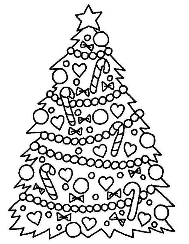 Gratis kleurplaat Kerstboom met ballen
