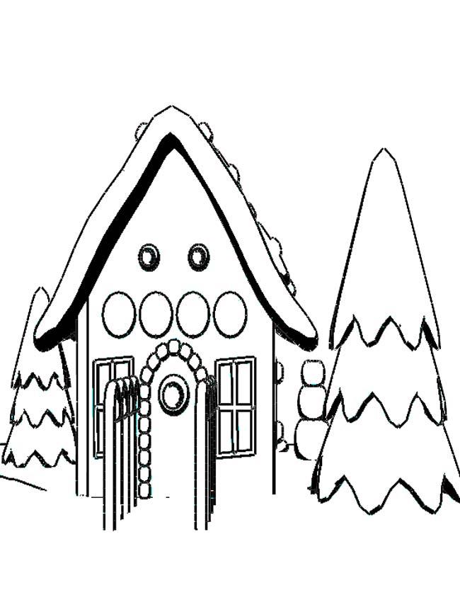Gratis kleurplaat Huis in de winter