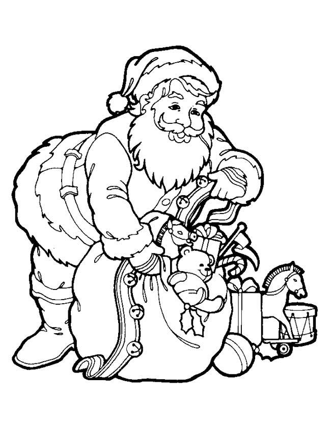 Gratis kleurplaat Kerstman met zak