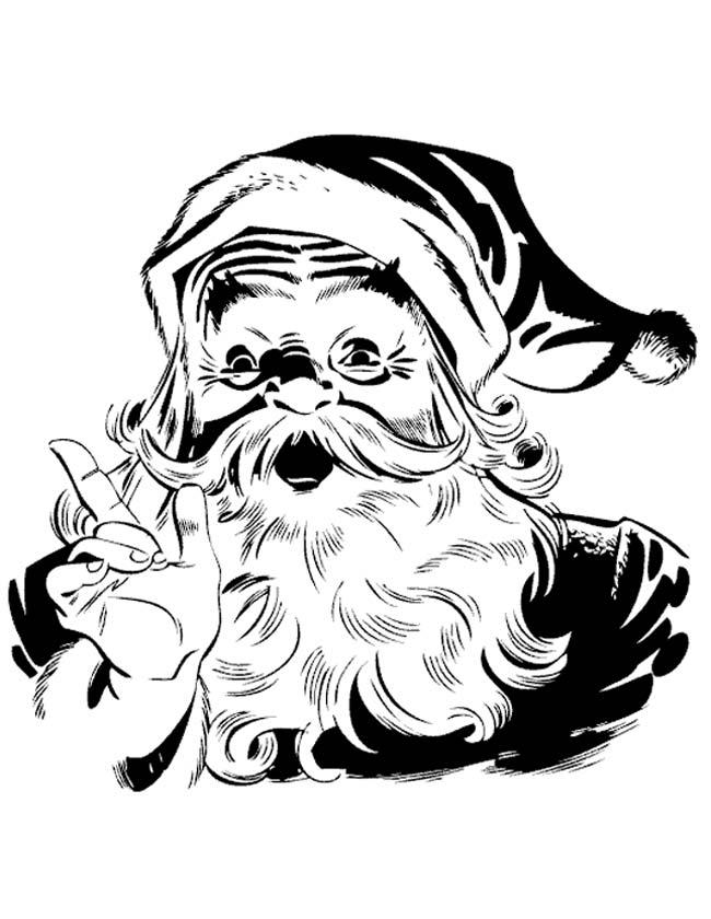 Gratis kleurplaat Portret van de kerstman