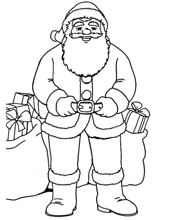 Gratis kleurplaat Poserende kerstman