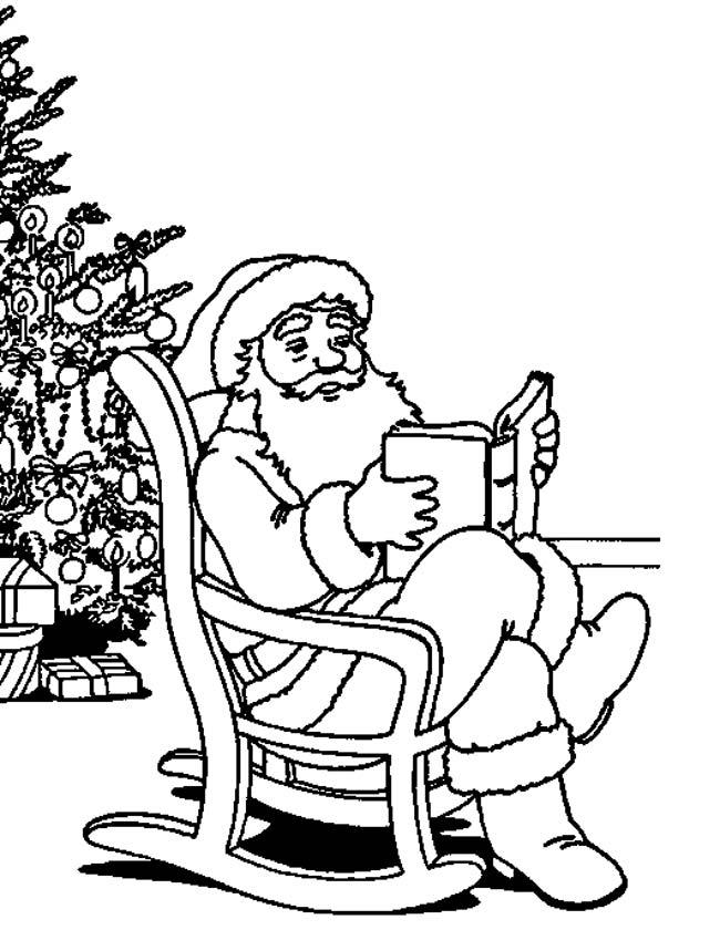 Gratis kleurplaat Kerstman in schommelstoel