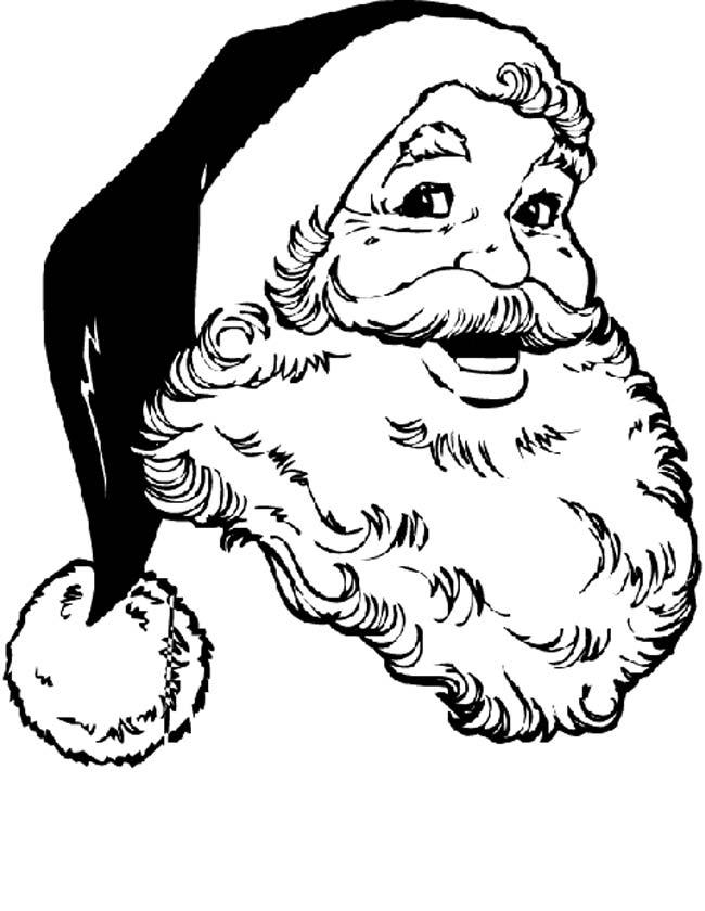 Gratis kleurplaat Portret van kerstman met muts