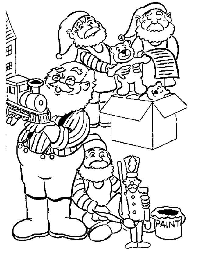Gratis kleurplaat Kerstmannen pakken in